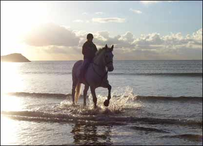 Beth Cowell from Bodffordd, Anglesey, sent in this shot of her eldest daughter riding on Llanddwyn Beach
