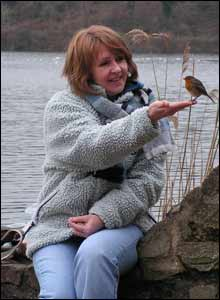 Sarah Davies and feathered friend at Bosherston lily ponds, taken by husband Meurig