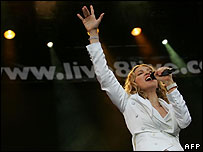 Madonna performing at Live 8