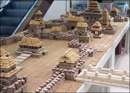 A traditional Asian city made of biscuits