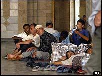 Uzbek refugees at the airport outside Bishkek, Kyrgyzstan