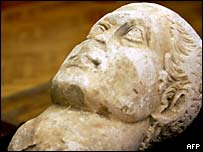 Marble head of Emperor Constantine found in a Rome sewer