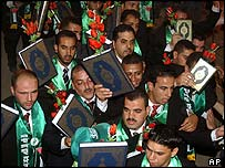 Grooms at the Hamas wedding ceremony in the West Bank