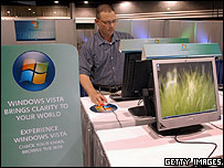 Image of a man trying out Microsoft Vista