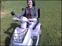 Photo of Karen Sheader on her scooter