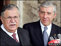 Iraqi President Jalal Talabani and UK Foreign Secretary Jack Straw in Baghdad in January