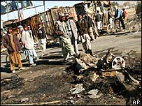 The site of a suicide bomb attack in Kabul