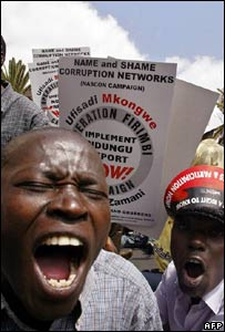 Kenyan activists demonstrating after a government corruption scandal