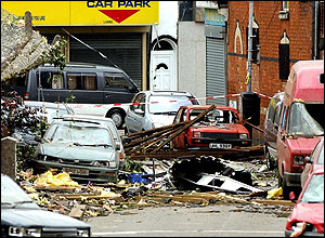 Birchwood Road Sparkbrook the day after the tornado