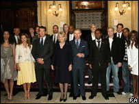 Prince Charles and the Duchess of Cornwall pose with star guests