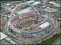 Overhead view of the new Wembley stadium