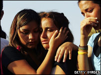 Two girls mourn their friends who died in the Netanya bombing