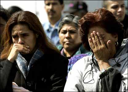 Relatives of Mexican miners at San Juan de Sabinas