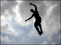 Person on trampoline