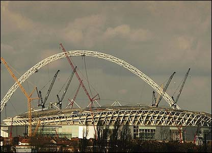 Wembley stadium pictured in February 2006