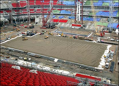 The foundations of the playing surface are prepared