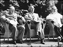 Winston Churchill, Harry Truman and Joseph Stalin at the Potsdam conference 1945