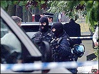 Police during the  west London raids