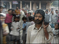 Radio listener in Bihar village