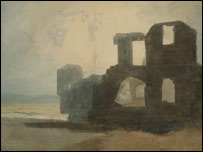Turner, The Gatehouse of Denbigh Castle: colour study. (c) Tate, London 2005