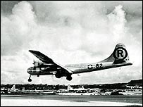 Enola Gay returns after Hiroshima mission (photo: Smithsonian Institution)