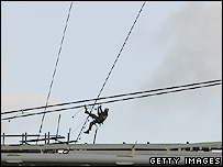 Construction worker on wires at Wembley
