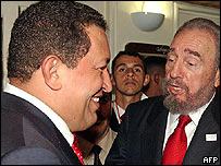 Hugo Chvez y Fidel Castro