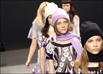 Models wear outfits from the Emilio Pucci in Milan