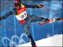 Bode Miller crashes in the men's Super G in Sestriere