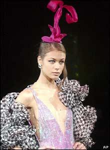 A model in Giorgio Armani outfit