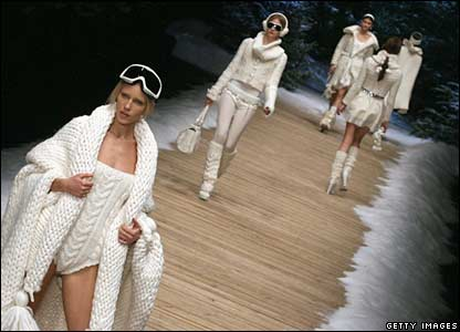 Models walk on the catwalk during a Dolce and Gabbana show