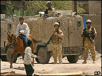British troops secure the blast area