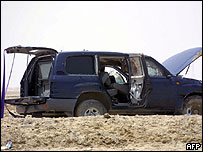 Blood stained vehicle caught in the blast in Basra, Iraq