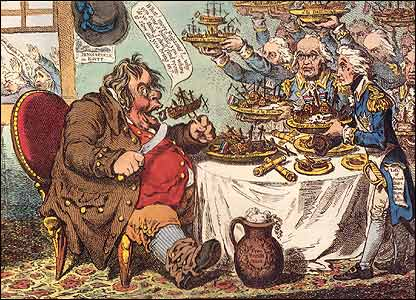 John Bull - taking a luncheon cartoon by Gillray