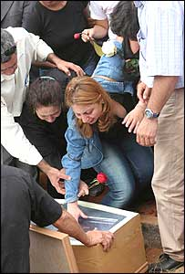Grieving relatives at graveside of Jean Charles de Menezes