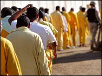 Prisoners at Iraq's Abu Ghraib jail in October 2005