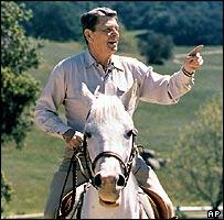 Ronald Reagan on horseback in 1985