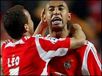 Anderson Luisao (right) celebrates scoring for Benfica