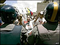 Protesters march to demand a more independent electoral council in Caracas, Venezuela