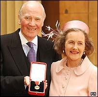 Sir Menzies and Lady Campbell collecting his knighthood at Buckingham Palace