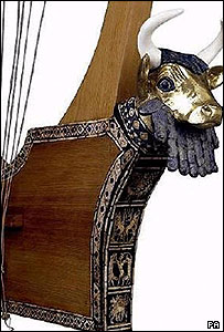 University of Liverpool handout of the 5000-year-old Lyre of Ur harp