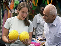 Woman selling melons on BBC Two series The Apprentice