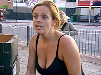 Female contestant from BBC Two series The Apprentice tries her hand at market trading