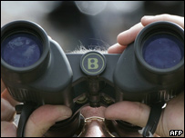 Man and binoculars