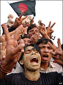 Bangladeshi cricket fans celebrate