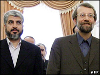 Khaled Meshaal (L) and Ali Larijani (R)