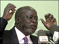 John Garang (pictured on 20 July)