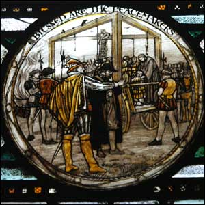 The Tyburn Tree gallows depicted in a stained glass window in the crypt