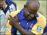 Sanath Jayasuriya feels his injured shoulder on Saturday