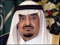 King Fahd of Saudi Arabia died on 1 August 2005 (Picture taken in 2000)